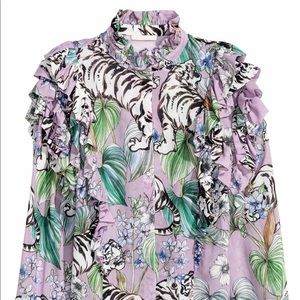 H&M Lavender Floral Tiger Ruffle Blouse size 4